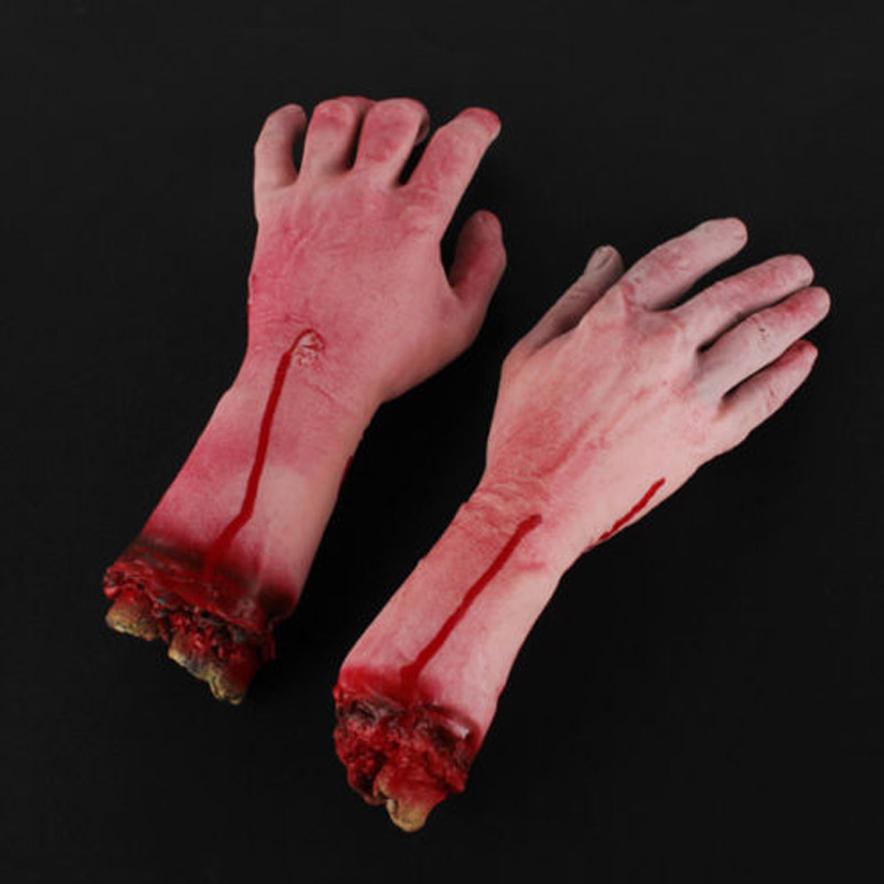 halloween decor 1pc horrible bloody fake rubber gory severed body part hand arm halloween prop high - Gory Halloween Decorations