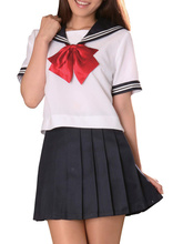 Free shipping Navy Blue Short Sleeves Sailor School Girl Cosplay Costume