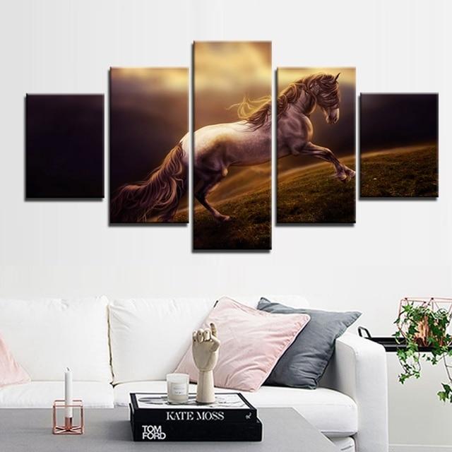US $15.85 47% OFF Starke Gallop Pferdeölgemälde Tiere auf Leinwand Home &  Wohnzimmer Aufkleber Dekor Abstrakt Poster Giclée Wand Kunst Goldenen in ...