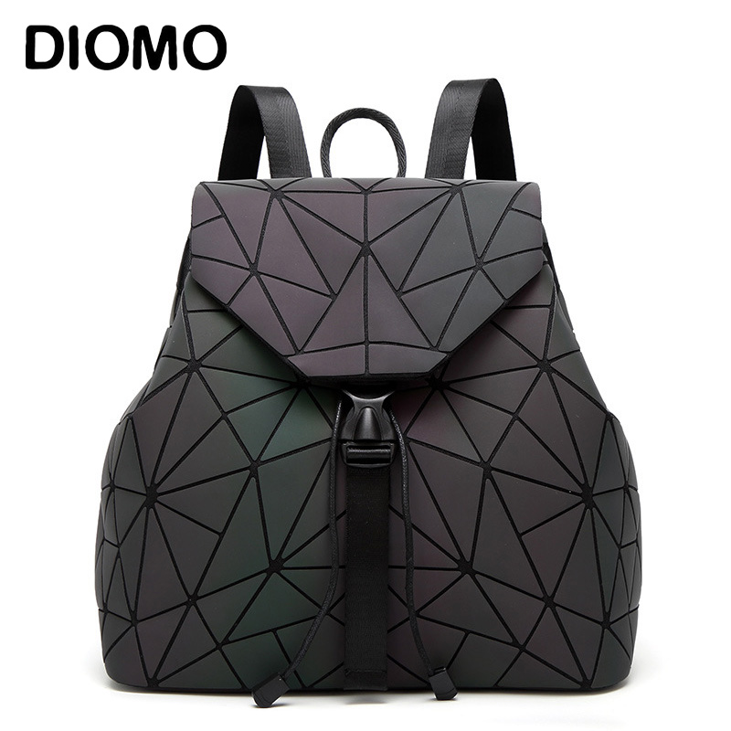 Women Backpack Luminous Geometric Plaid Sequin Female Backpacks For Teenage Girls Bagpack Drawstring Bag Holographic Backpack ipinee women backpack feminine geometric plaid denim female backpacks for teenage girls bagpack drawstring bag holographic