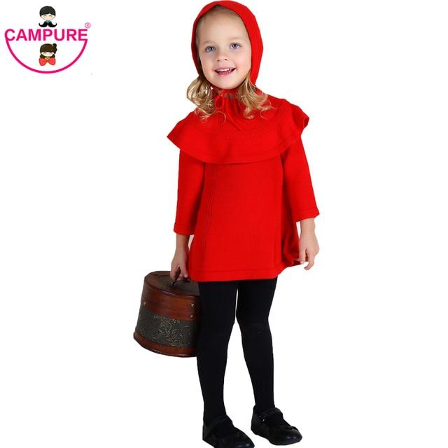 New 2016 Autumn Girl Princess Sweater Dress Knitted Cute White Red Baby Dress Kids Knee-Length Dress For Infant Girl dress