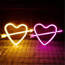 Battery Powered LED Cupid Loving Heart Neon Lamp Night Light for Wedding Christmas Valentine's Day Birthday Home Room Decoration