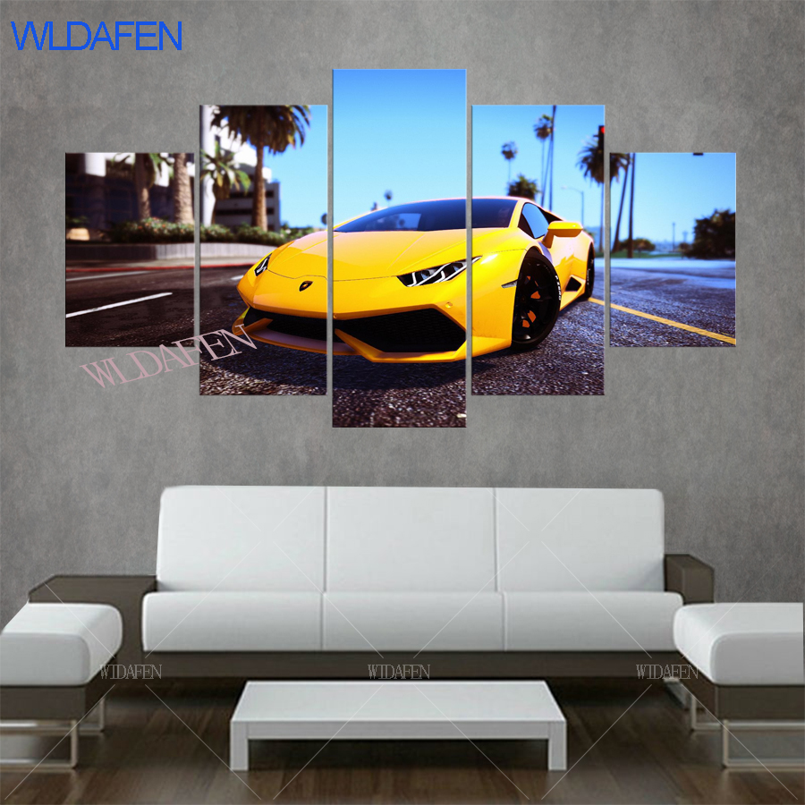Various sports cars in grand theft auto gta v 5 .HD prints paintings for living room on the wall decorative pictures 5 pieces