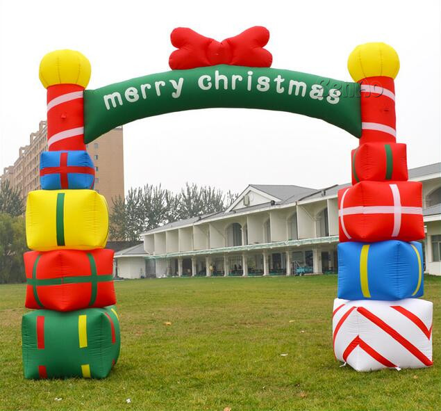 X157 New Design Inflatable Christmas Decoration Inflatable bow With Christmas Gifts,with gift boxes for opening ceremony