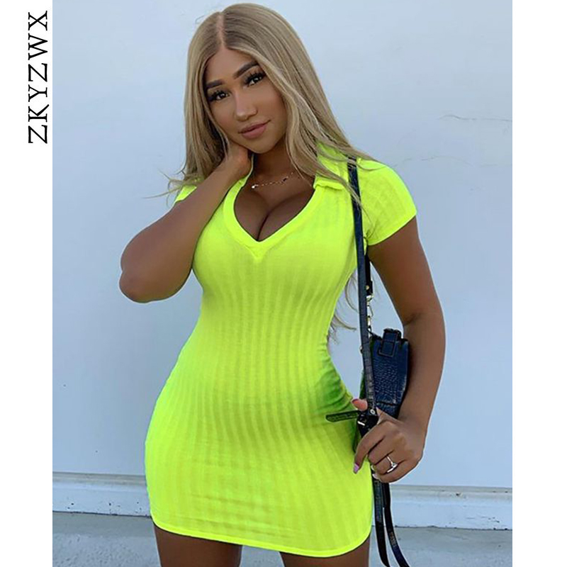 2dc2dd89bf2dd ZKYZWX Neon Yellow Sexy Bodycon Mini Dresses Summer Womens Night Club Wear  Sweater Short Sleeve Deep-V Slim Fit Knit Party Dress - TODAYDEALS.FUN