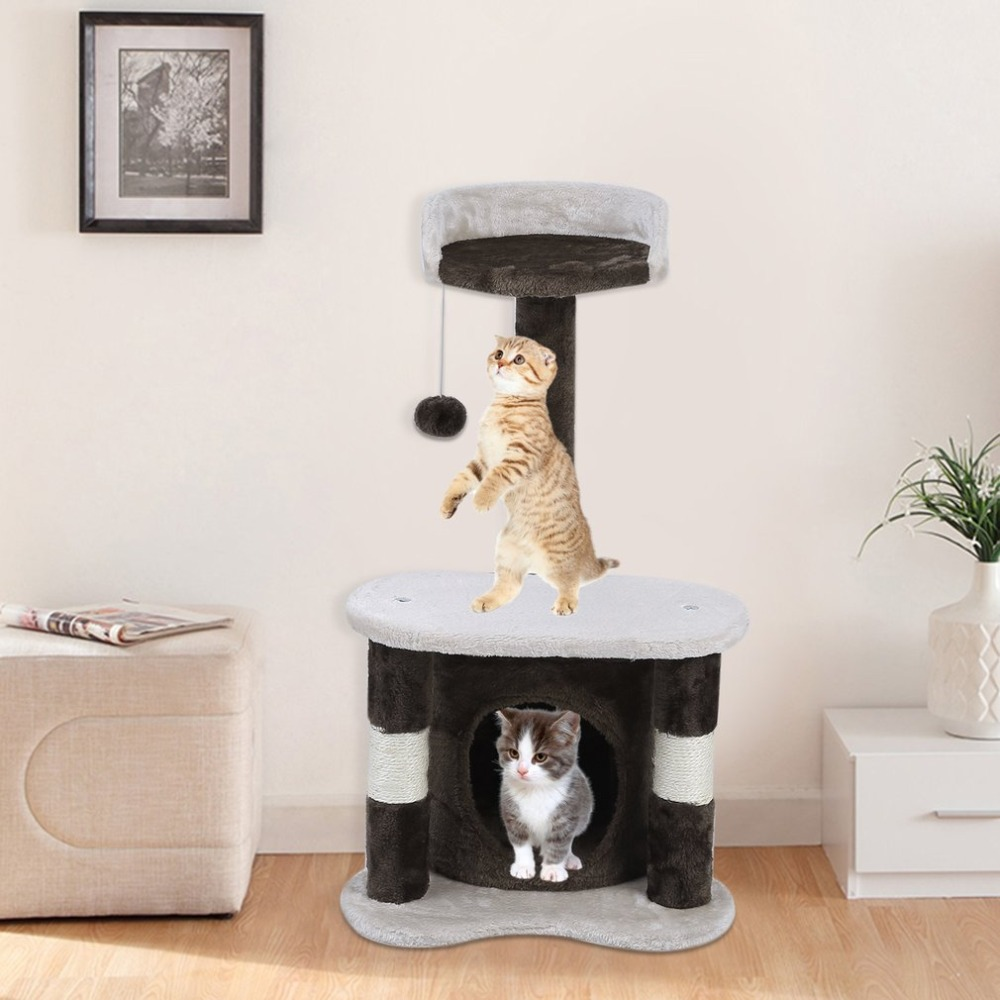 65cm Climbing Frame CatS Tree Height Speed Pets Scratching Posts Animals Toys House Bed Furniture Great Gift Brown