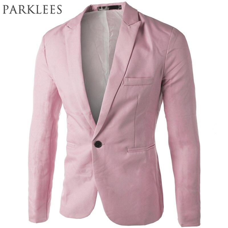 Brand Pink Blazer Men Suit 2017 New Arrival Mens Slim Fit Blazer Jacket Korean Fashion Single Button Blazers Costume Veste Homme