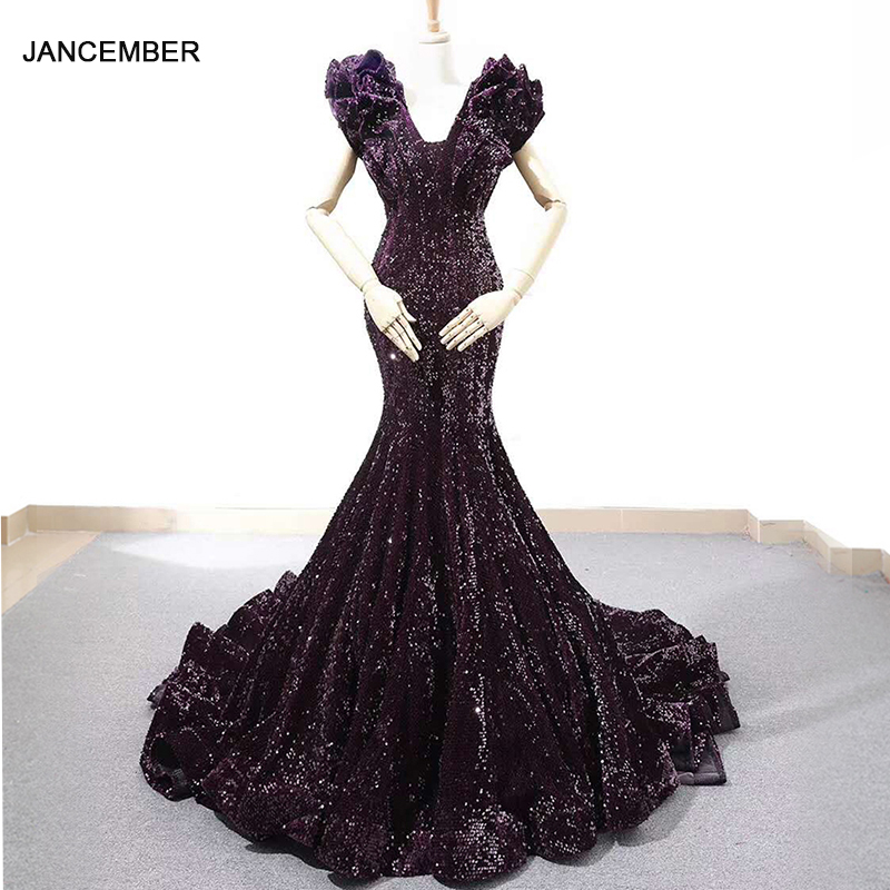 fcdc66e88ed1 J66736 jancember púrpura sirena vestido de noche con cuello en V mangas  especiales trompeta vestido ...