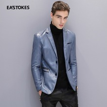 Men leather Suit With Zipper Pockets Men Slim Cut Leather Jackets Fashion Men Faux Leather Coats Blue Leather Outfits Plus Size