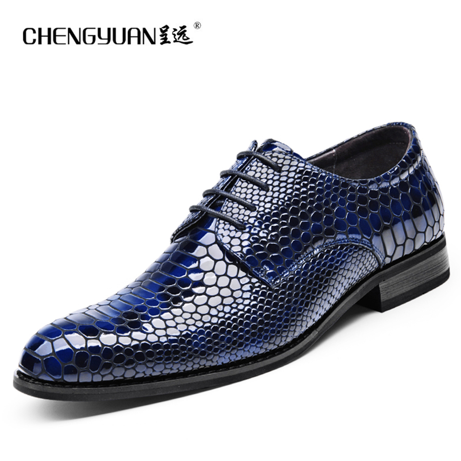 Mens leather flat shoes summer bright business large size men dress wedding party leather shoes 48