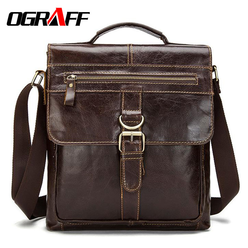 OGRAFF Genuine Leather Shoulder Bags Men Messenger Bag Handbags Small Male Tote Vintage Briefcase Crossbody Bag Men's Handbags ograff bag men genuine leather men messenger bags handbags famous brand designer briefcases leather crossbody bags men handbag