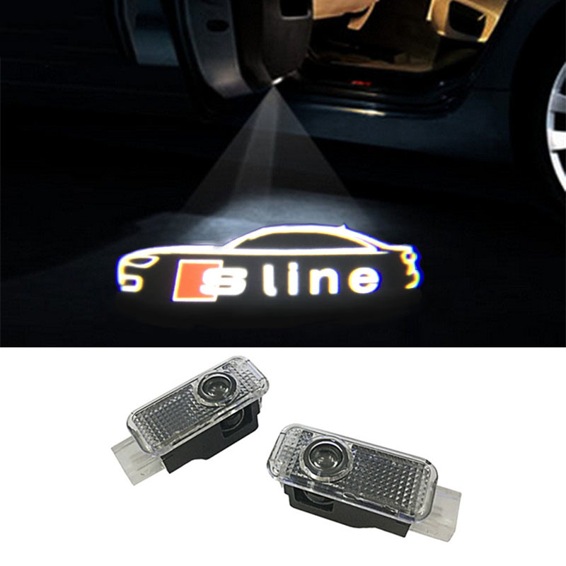 2x LED Car Door Welcome Light Laser Projector Sline quattro Logo For Audi A1 A3 A5 A6 A8 A4 B6 B8 C5 80 A7 Q3 Q5 Q7 TT R8 sline 2pcs led logo door courtesy projector shadow light for audi a3 a4 b5 b6 b7 b8 a6 c5 c6 q5 a5 tt q7 a4l 80 a1 a7 r8 a6l q3 a8 a8l