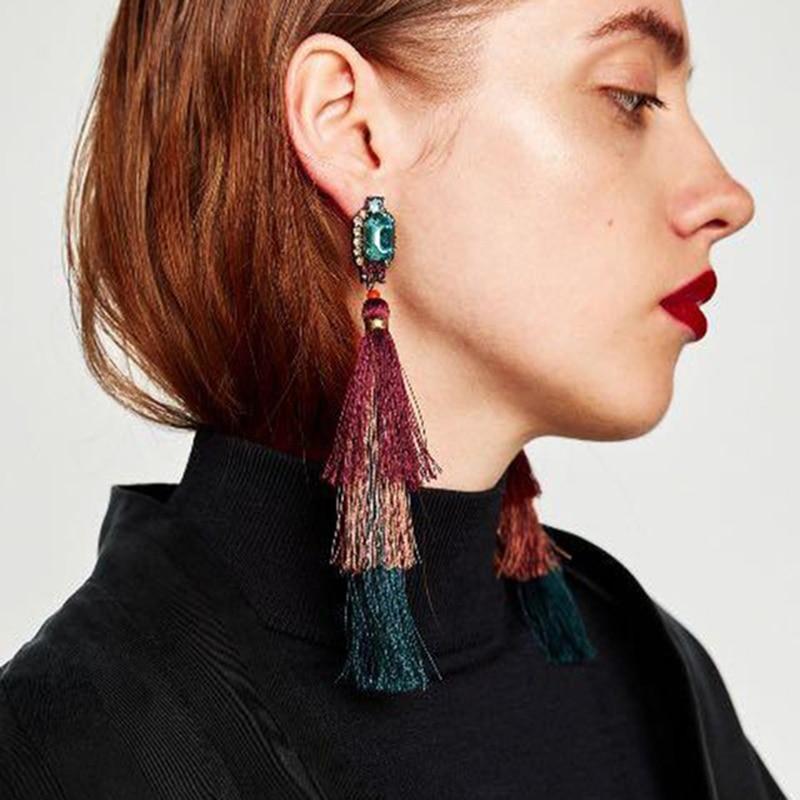 Vedawas Big Brand Hot Sale Fashion Rhinestone Crystal Beads Stud Earrings for Women Multilayer Tassel Earrings Jewelry xg361