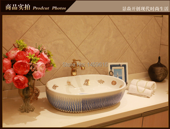 Oval Bathroom Lavabo Ceramic Counter Top Wash Basin Cloakroom Hand Painted Vessel Sink 5034 фото