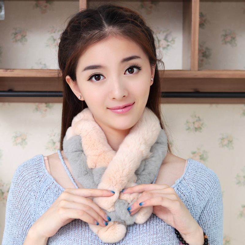 Fashion Women's Fur Scarf Warm Winter Natural Rex Rabbit Fur Scaves Double Color Hair Ladies Long Scarf With Fur Ball WJ008