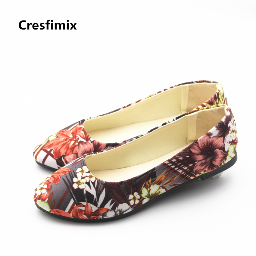 Cresfimix women fashion spring & summer round toe flat shoes lady casual street stylish floral flats female comfortable shoes cresfimix women fashion
