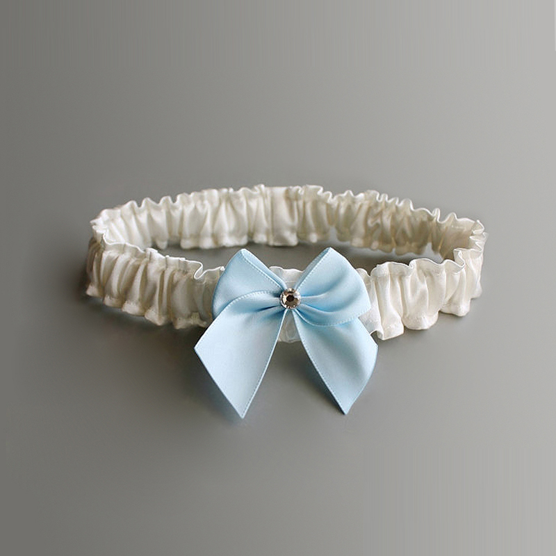 Fashion Women's Sexy Garter Blue Bow Rhinestone Garter