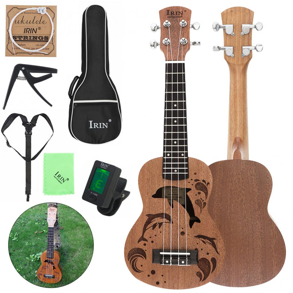 21 Inch Soprano Ukulele Sapele Wood 15 Frets Dolphins Sound Hole Four Strings Guitar Bag Tuner