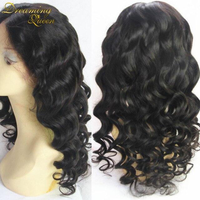 Необработанные девственница Малазийский бесклеевого полный шнурок парики человеческих волос нет клубок не линять полный шнурок человеческих волос парики бесплатная доставка