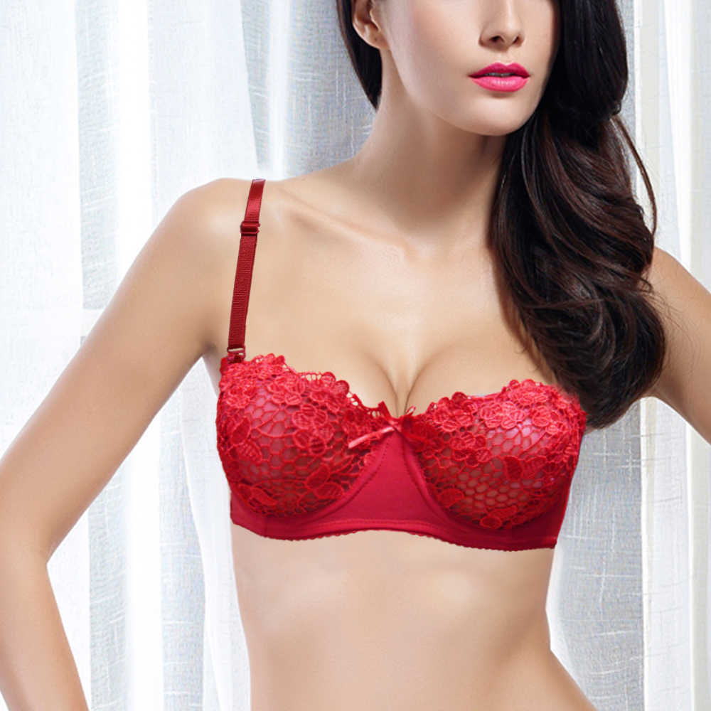 5ed5de43ae2 YANDW Beautiful Bra Black Red White Floral Embroidery Mesh Lined Lace  Bralette Women Sexy Bras 34