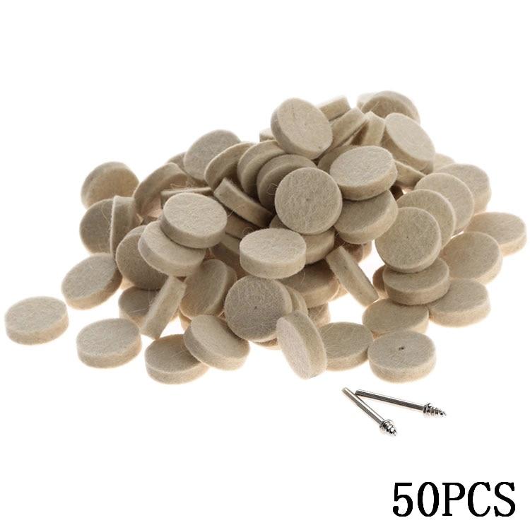 50 stks 25mm dremel accessoires wolvilt polijsten polijstschijf slijpen polijstpad + 2 stks 3.2 mm schachten voor dremel roterende tool
