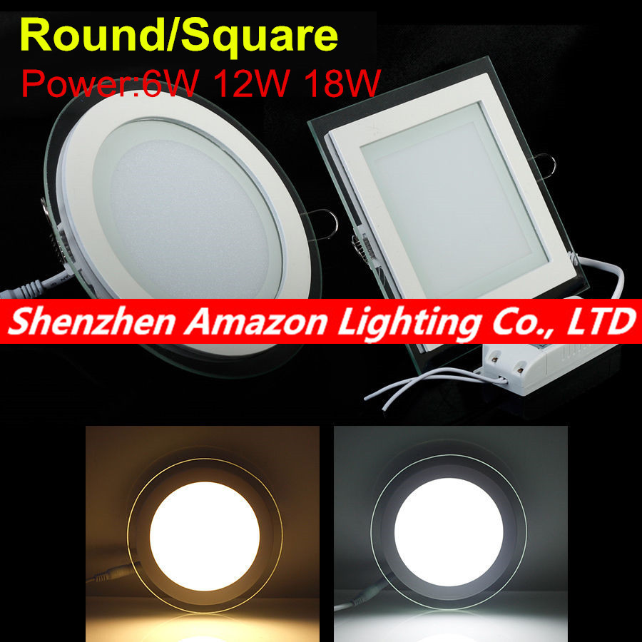 buy dimmable led panel downlight square round glass panel lights high. Black Bedroom Furniture Sets. Home Design Ideas