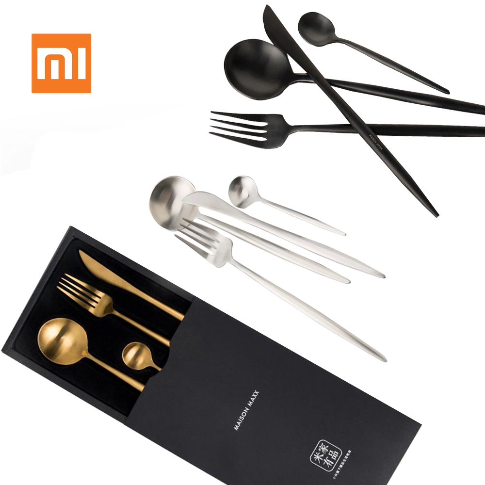 Xiaomi Mijia Metal Tableware Stainless Steel Spoon Set Smart Home Maision Maxx Knife Spoon Fork Tea-spoon 4 Kit Simple Style