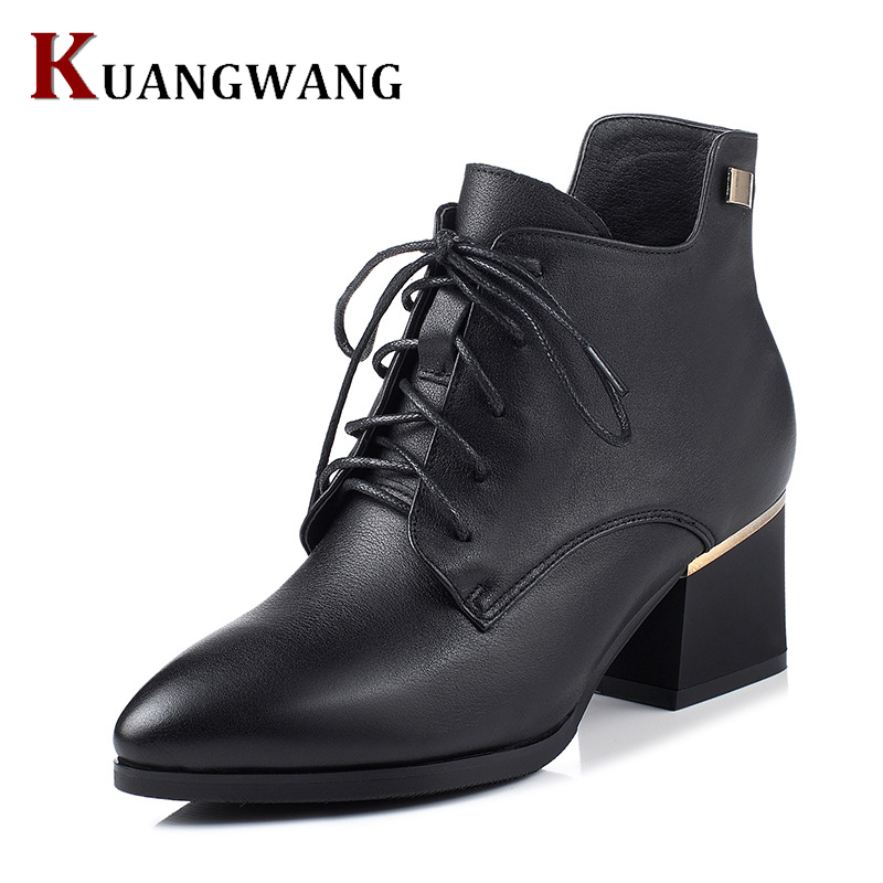 2016 Spring Single Shoes Pointed Toe Lace-up Heel Ankle Boots Ladies Short Boots Women's Leather Boots Autumn Winter Boots women ankle boots 2016 round toe autumn shoes booties lace up black and white ladies short 2017 flat fashion female new chinese