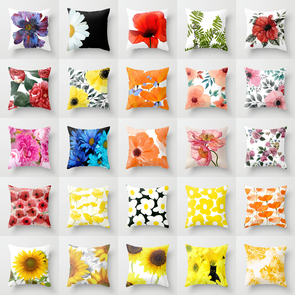Elife Polyester Green tropical Cushion Cover artificial Leave flower Plant Pillow Case For Sofa Bed Car waist Home Decor 45*45CM
