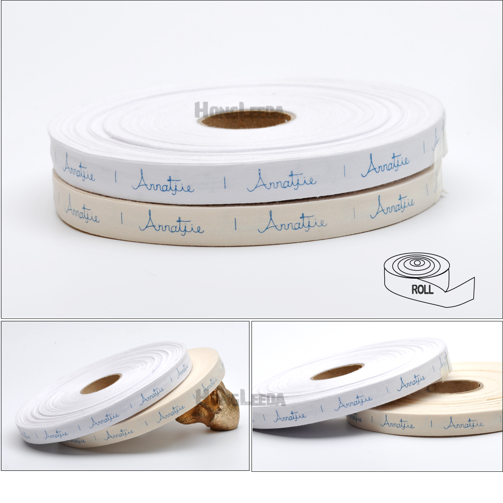1000pcs/roll CUSTOMIZED Design Cotton Silk Print Labels Tapes Width -2.5cm Natural Cotton Label Garment Clothing Tag LBR-001