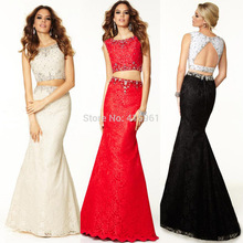 цена 2015 Sexy Women Mermaid Evening Dresses Tank Lace Two Piece Prom Gowns Beads Vestido de Festa Longo E6156