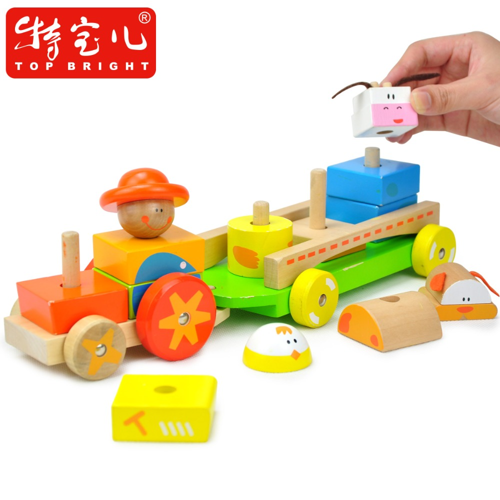 Candice guo wooden toy wood block colorful shape cartoon farm tractor building car garden kid birthday present gift 14pcs/set candice guo wooden toy wood block duck pull cart board cannula pillar vehicle shape macth game birthday gift christmas present