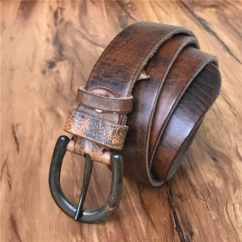 Vintage Pin Belt Buckle Cow Leather Men Belt Cowboy Retro Men Waist Belt Ceinture Homme Cinturon