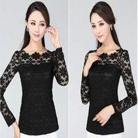 2014 Autumn New Korean Style Lace Shirt Slim Top Show Thin Bouse Plus Size M L