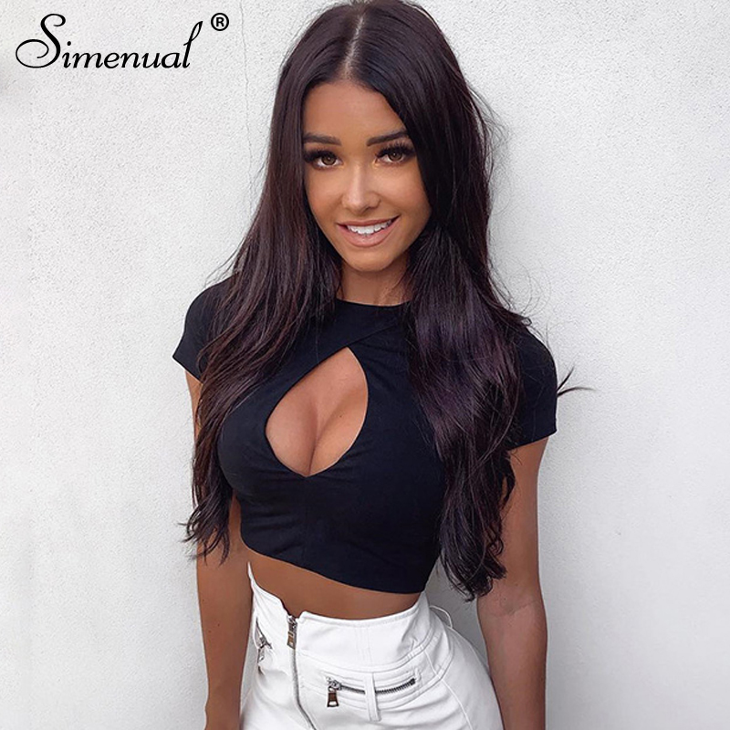 100% Quality Simenual Cut Out Sexy Hot T Shirt Women Short Sleeve Tee Shirts Solid Casual Basic Crop Top Neon Green Summer 2019 Fashion Tops Sales Of Quality Assurance