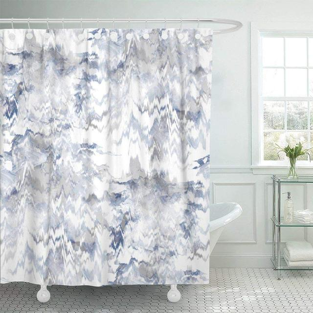 Shower Curtain Hooks Blue Artistic Tie Dye Design Indigo Watercolor Effect Shibori Navy Batik Camo Decorative Bathroom