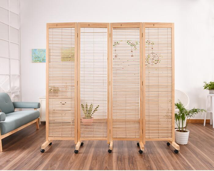 Oriental Japanese Style 4 Panel Wood Folding Screen With Wheels Room
