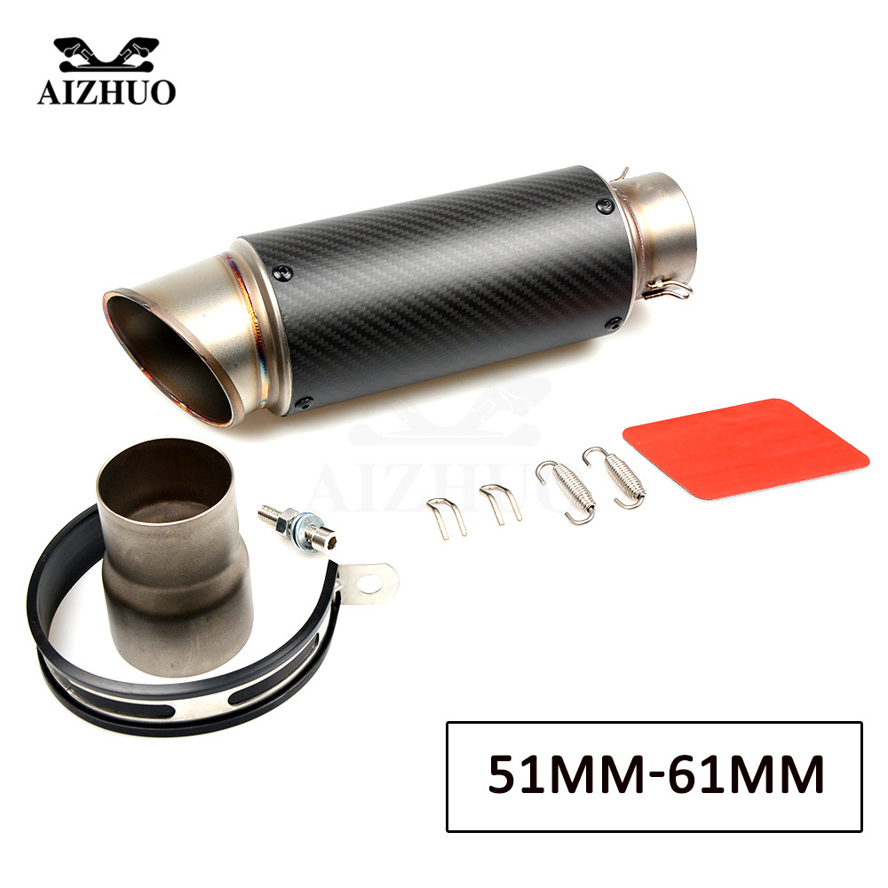 51mm 61mm Motorcycle Exhaust Muffler Pipe Escape Exhaust Carbon Fiber for yamaha r15 mt07 benelli msx125 fz1 fz6 pit bike in Exhaust Exhaust Systems from Automobiles Motorcycles