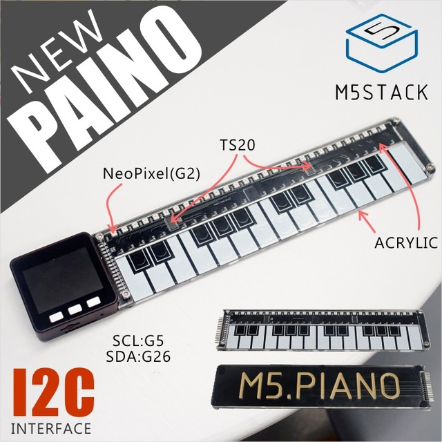 US $13 9  M5Stack Official Piano Board made of Acrylic with Neopixel LED  Light TS20 I2C for Arduino Blockly ESP32 Development Board STEM-in Home