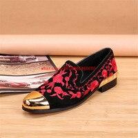 플러스 사이즈 레드 자수 골드 발가락 드레스 신발 남성 꽃 디자인 정품