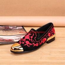 Plus Size Red Embroidered Gold Toe Dress Shoes Men Flower Design Genuine Leather Velvet Mens Studded Loafers Elegant Slippers