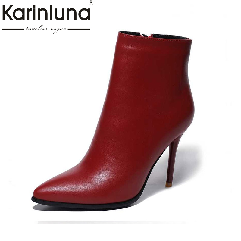 KARINLUNA Sexy Fashion Boots Ankle Brand Genuine Leather Spring Autumn Thin High Heels Pointed Toe Party Wedding Shoes Women 2017 spring fashion 9 cm pointed toe high heeled shoes metal pearl decoration thin heels patent leather wedding party shoes