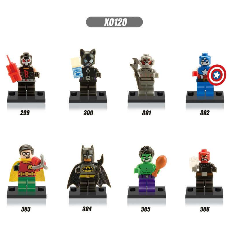 Batman capitão américa robin crânio vermelho bane blocos de construção mini super heróis crianças presente brinquedos
