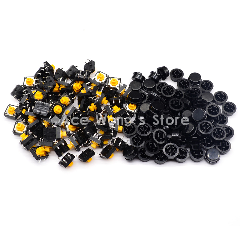 Free shipping,100PCS Tactile Push Button Switch Momentary 12*12*7.3MM Micro switch button + (100pcs Black Tact Cap) 100pcs tda2040v tda2040