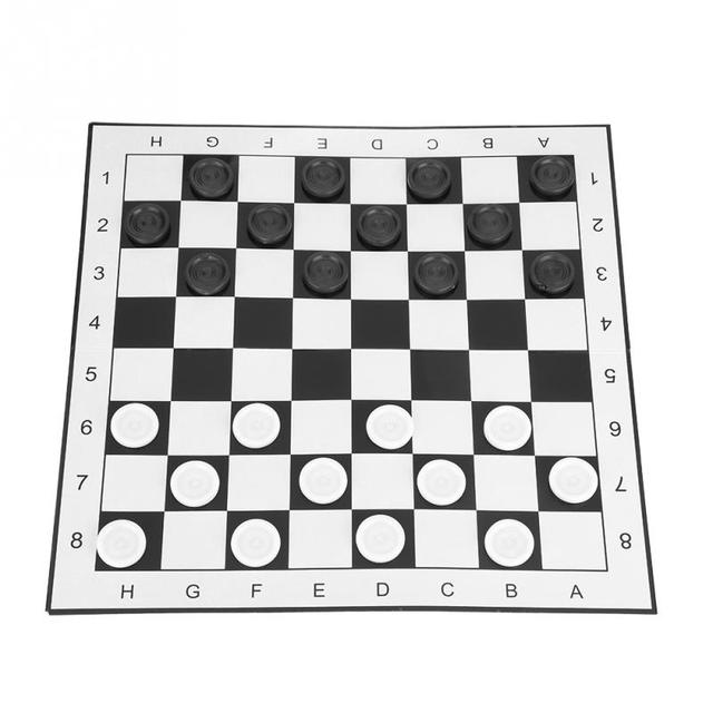 Portable International Chess Checkers Folding Board White Black Set For Party Family Activities