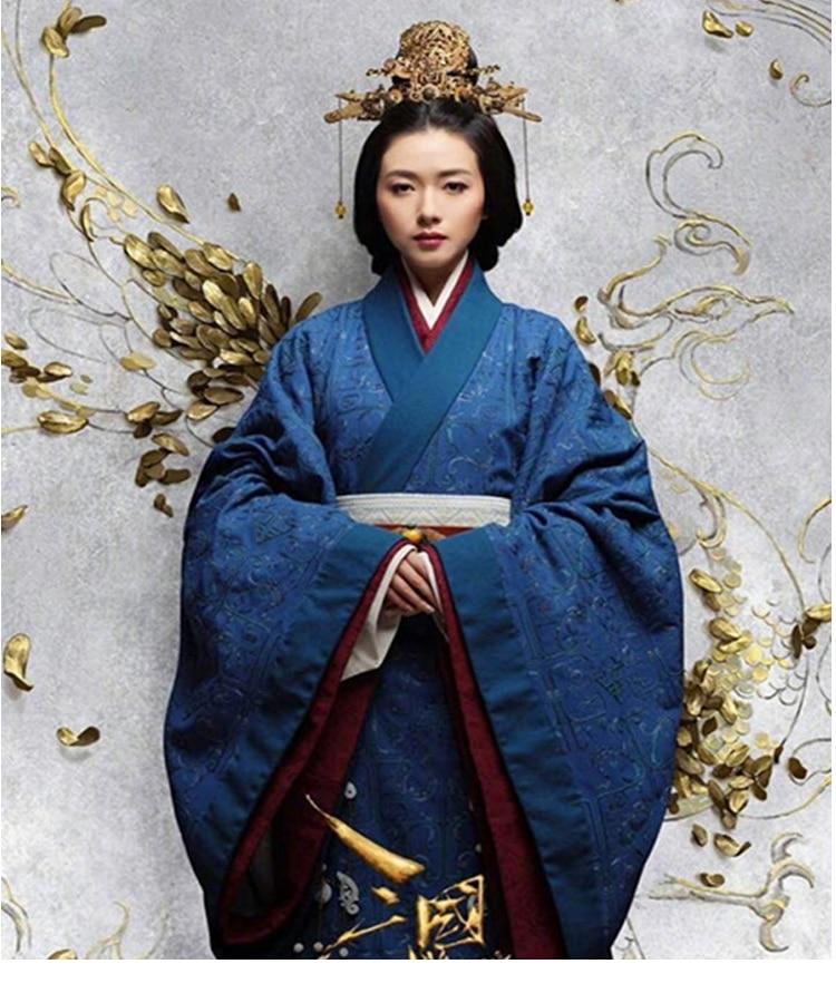 Secret Of The Three Kingdoms Empress Wan Qian Female Hanfu Tailed Blue Costume 2018 New TV Play