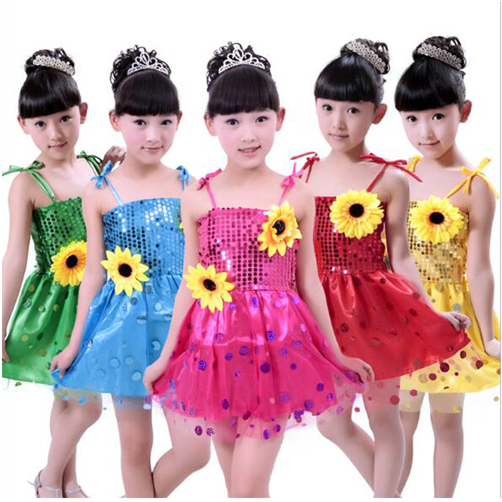 Tango Dress Latin Competition Dresses Ballroom Dance Skirt Modern Large Sunflower Girls Sequins Stage Performance Clothing