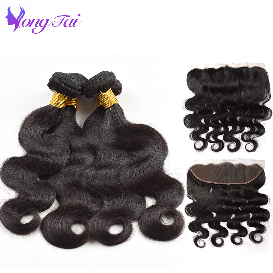 Yuyongtai Indian Body Wave 4 Bundles With Frontal Non Remy Human Hair Weave With closure 13x4 Inch Lace Frontal With Bundles