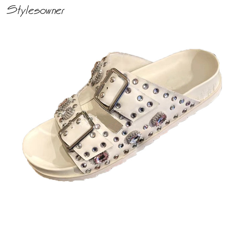 stylesowner Fashion Real Leather Slippers Woman Rhinestone Diamond Rivet Thick Bottom Flat Sandals Women Gladiator Sandalsstylesowner Fashion Real Leather Slippers Woman Rhinestone Diamond Rivet Thick Bottom Flat Sandals Women Gladiator Sandals