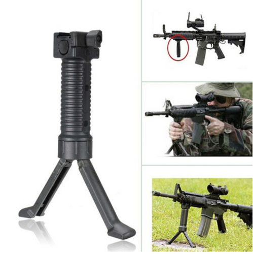Tactical Rifle Grip Stand Vertical Foregrip Military Issue Bipod Picatinny Weaver Rail 20mm